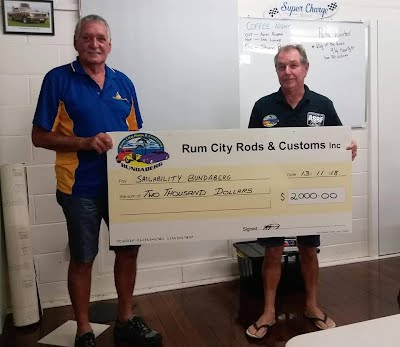 Many thanks goes out to Rum City Rods and Customs for their generous donation. 😁😁😁⛵⛵⛵ Money donated goes to buying new boats, sails and repairs and maintenance.  Sailability Bundaberg is run 100% by volunteers.